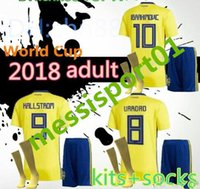 with socks Sweden Soccer set 2018 home yellow Kit Jerseys IB...