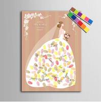 Prinzessin Kleid Fingerprint Baum Hochzeit Gästebuch Leinwand Malerei mit 12 Farben Inkpads für Hochzeitsdekoration