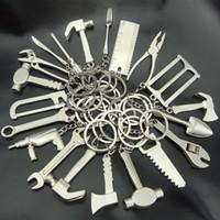 سلسلة المفاتيح مفتاح سلسلة معدنية مقص أداة مطرقة وجع كماشة الحاكم محاكاة الحفر