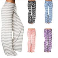 النساء اليوغا الرياضة مخطط فضفاض السراويل واسعة الساق تمتد طماق السراويل الطويلة شريط مضيئة السراويل سروال فضفاض OOA3217
