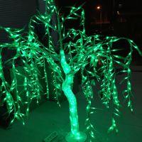 LED cristal saule arbre lumière LED 288pcs LED 1.2M couleur verte étanche à la pluie intérieur ou extérieur vacances vacances nouvel an fête désherbage déco