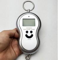 Portable Handy Pocket Smile Mini Bilancia elettronica digitale LCD Appeso Gancio di pesca Bagaglio Balance Peso Bilance zucca 50Kg 1000 pz