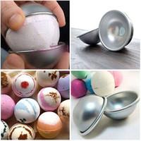 Toptan-10pcs / Lot 3D Alüminyum Alaşım Topu Küre Banyo Bomba Kalıp Kek Pan Teneke Pişirme Pasta Kalıp 4.5 x 2 cm 5.5x2.5 cm 6.5x3 cm