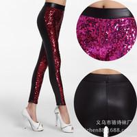 Moda europea nuevo diseño sexy bodyon paillette con lentejuelas bling patchwork PU cuero túnica pantalones polainas