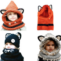Hecho a mano de los niños Sombreros de invierno abrigo de zorro bufanda de lana Caps linda niños del otoño hicieron punto los sombreros Touca Infantil