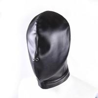 Lustige schwarze Leder Bondage Hood Maske Fetisch Bondage Restraint Blinde Maske SM Geschlecht spielt für Männer / Frauen / MenHeadgear BDSM Toys