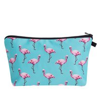 Woman 3D Printed Cosmetic Bags Zipper Pink Flamingo Blue Fas...