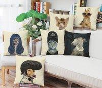 Vintage insansı kediler köpekler türleri hayvan keten yastık kılıfı keten minder örtüsü 42x42 cm