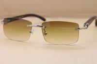 Marca Designer Sunglassses Luxo Moda Sem Aro Óculos de Sol Requintado Preto Búfalo Chifre Óculos para Mulheres Dos Homens 3524012 Caso Original 56-18