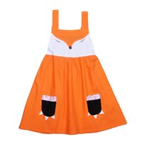 Ins Girls Jumpsuits Dresses Fox Cartoon with Pockets Sleevel...