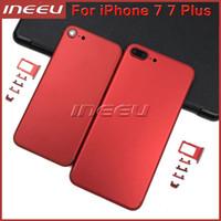 Yeni Tam Kırmızı Renk Konut iPhone 7 Için 7 Artı Alüminyum Metal Geri Pil Kapı Kapak Yedek Mat Siyah