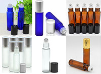 Staniless Çelik Ball In Stock ile Taşınabilir 10ml Mini Rulo On Cam Şişeler Parfüm PARFÜM Amber Mavi Şeffaf Buzlu Cam Merdane Şişeler