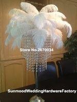 Искусственное акриловое кристаллическое страусиное перо для украшения свадебного украшения