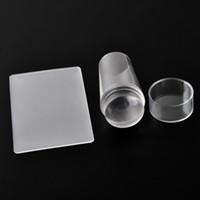 Шаблоны для дизайна ногтей Чистое прозрачное желе Силиконовый гвоздь Штамповка для пластин с крышкой Прозрачный гвоздь Штамп OOA2230