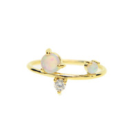 US size 6 7 8 fashion gold plated jewelry cz opal gemstone f...