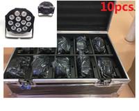 10pcs 12x12W + flightcase + 1.2m cabo DMX LED plana SlimPar Quad Luz 4em1 LED DJ Wash Luz Stage DMX lâmpada de luz 4/8 Channes
