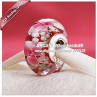S925 joyería hecha a mano de plata esterlina jardín granos de cristal de Murano aptos europeos DIY pandora pulseras del encanto del collar 326