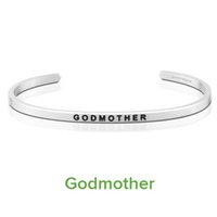 10PCS 68MM Delicate Cuff Bangle GODMOTHER Inspirational Bangle Bracciale in acciaio inossidabile 316L Bracciale per donna Uomo