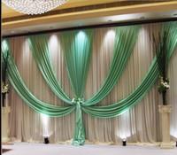 Express Free 3x6m metro Envío de hielo Seda de la boda Fondo de bodas Decoración Romántica Cortina de boda con Swags Lechas
