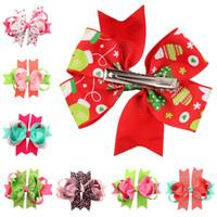 Navidad bebé niña pelo arcos clips boutique pelo pin grosgrain cinta arcos hinchados niños niña accesorios para el cabello GB067