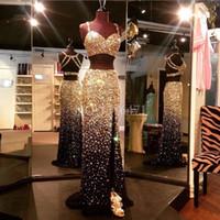 Perle di cristallo d'oro di lusso abbagliante due pezzi Prom Dresses 2017 Sexy Backless High Front Split Black Evening Prom Gowns