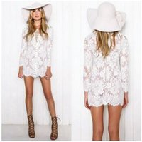 Eleagnt Bohemian beach lace dresses hollow out mini dress Wo...