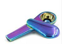 Metal Scoop Shaop Forma Arcobaleno Cucchiaio da fumo tubo in lega di zinco 95mm Lunghezza 24mm Diametro Diametro TABACCO Sigaretta Pipes con scatola regalo