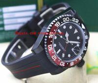 패션 최고 품질 럭셔리 II 116710B 40mm 세라믹 베젤 배트맨 PVD 코팅 블랙 / 레드 고무 팔찌 기계적 남성 시계 새로운 도착