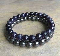 8mm Blue Goldstone Bracelet, 8mm Hematite Bracelet, Gemstone Beads Bracelet Elastic Gemstone Bracelet, Gifts