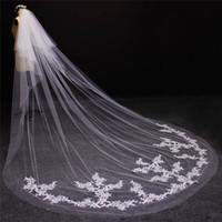 طبقتين قطع الدانتيل يزين أحمر الخدود غطاء الوجه 2 طبقات الزفاف الحجاب مع كاتدرائية مشط الحجاب الزفاف