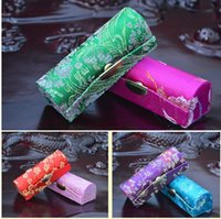 Cor aleatória Retro Brocade bordado batom Esvaziar Cosmetic Titular Caso Box com espelho Caso maravilhoso e caixa de presente Batom 2748