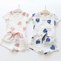 Fashion Baby Bambini Abbigliamento Amore Amore manica corta T-shirt Shorts Bicks's By-Piece Abito Abbigliamento Set Ragazze Ragazzi Vestiti 1058