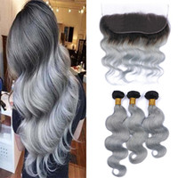 Dark Roots Grey Lace Frontal Closure With Hair Bundle Two To...