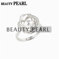 5 Pieces Luxury Design Floral Pearl Ring Settings 925 Sterli...