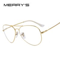 Wholesale- MERRY'S Fashion Men Titanium Eyeglasses Frames Men  Titanium Eyeglasses Gold Shield Frame With Glasses 2 Color