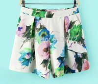 Wholesale- Women pleated floral print shorts zipper pockets ...