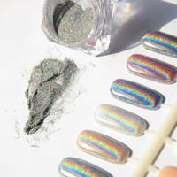 Toptan Satış - Toptan-1g Lazer Gümüş Holografik Nails Glitters Toz DIY Nail Art Sequins Krom Pigment Toz Parlak Sihirli Lazer Ayna Toz Nails