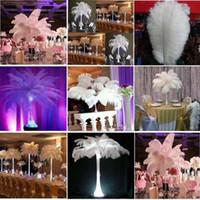 50 pcs Por lote 45 ~ 50 cm Branco Pena de Avestruz Plume Artesanato Suprimentos de Casamento Centros De Mesa de Festa Decoração Frete Grátis