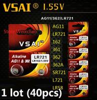40 pz 1 lotto AG11 LR721 162 361 362 362A SR721 L721 LR58 1.55 V batteria alcalina batteria a bottone batterie a bottone VSAI Spedizione Gratuita