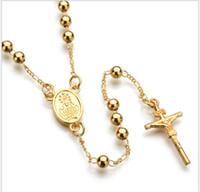 четки бусины ожерелье крест Иисус кулон серебро и золото покрытием бусины длинные ожерелья для мужчин и женщин четки бисера цепи