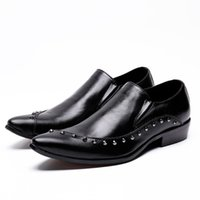 2017 British Business Style Mens Dress Shoes Rivet Zapatillas Hombre con borchie in pelle nera Sapato Chaussure Homme
