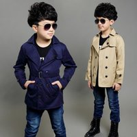 simple classic kids boy trench coat gentle soild Spring caus...