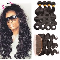 Spring Queen Hair 8A Indian Body Wave Lace Frontal Closure With Bundles Virgen sin procesar de la armadura del cabello humano con 13X4 '' Full Lace Frontal