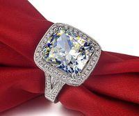 빠른 배송 무료 호화로운 품질의 다이아몬드 결혼 반지 놀라운 8 CT 쿠션 컷 합성 약혼 반지 여성 빅 링 기념일