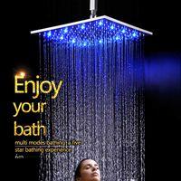 Cambio del color del resplandor LED del agua de la fuente de la fábrica de China según cabezal de ducha del cuadrado del cuarto de baño de la temperatura del agua