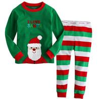 صبي الأطفال مجموعة ملابس ربيع الخريف سانتا شريط نمط الصبي قطعتين تأثيث المنزل ارتداء منامة للطفل الأولاد