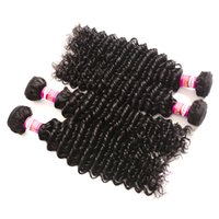 10A Deep Wave Mongolian Hair Weave Natural Color 3 or 4 Bund...