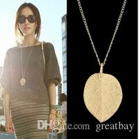 fashion jewelry ladies`s leaf pendant necklace chain gold pe...
