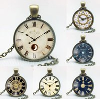 Best gift Retro Alloy Watch Clock Gemstone Necklace Fashion ...