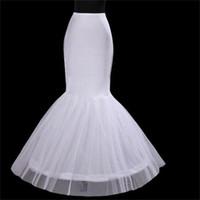 2017 nueva sirena / trompeta enaguas de trompeta blanca 1-hoop crinoline nupcial camiseta de novia envío gratis venta caliente accesorios nupciales